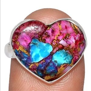 BOUTIQUE PINK OPAL & TURQUOISE 925 SILVER RING 8.5